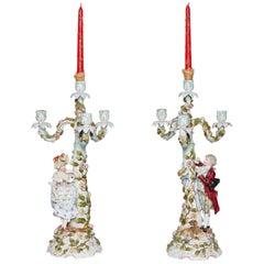 Sitzendorf Dresden Porcelain Candelabras Figural Courting Pair, circa 1850