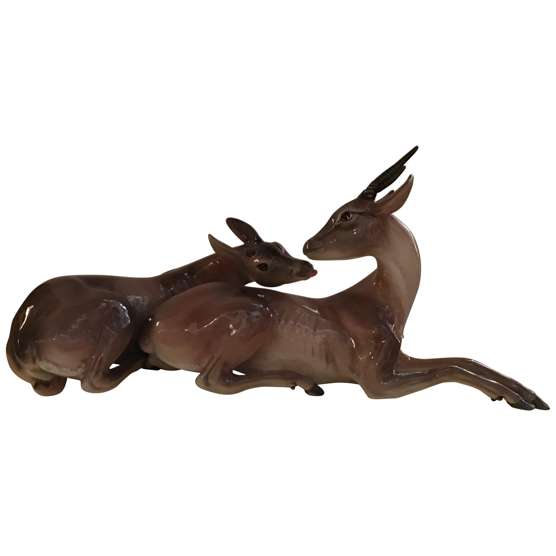 """Ronzan Italian Ceramic """"African Gazelles"""", 1950"""