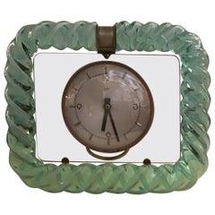Seguso 1930s Table Clock Italian Murano Glass Brass Plex