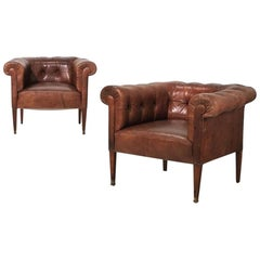 Austrian Two Leather Armchairs Designed by Adolf Loos, circa 1905