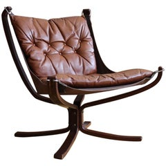 Danish Midcentury Brown Leather Sigurd Ressell Falcon Chair