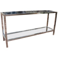 1970s Italian Stainless Steel Console Table with Period Smoked Glass Top