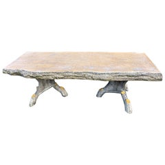 Faux Bois Garden Table Tree Look, Yellow Painted Top
