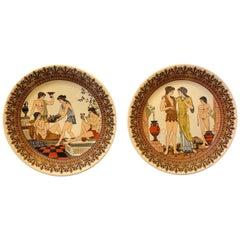 Set of Two Neoclassical Ceramic Greek Mural Plates