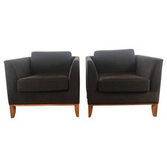 Stunning Pair of Mohair Contemporary Cube Lounge Chairs, Rembrandt Design