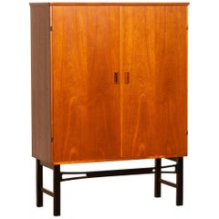 1950s, Teak High Board Buffet Cabinet on Black Stand, Sweden