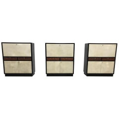 Set of Three Art Deco Black and Parchment Cabinets, 1940s