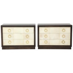 Pair of Exquisite Parchment Dressers by T H Robsjohn Gibbings