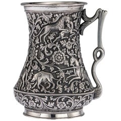 19th Century Indian Kutch Exceptional Solid Silver Hand Crafted Cup, circa 1870