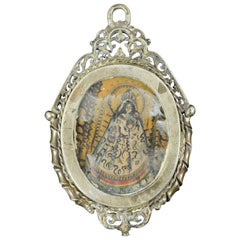 """Virgin Mary and Christ"" Miniature on Copper; Silver Frame, 18th Century"