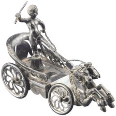 "Silver ""Chariot"" Toothpick Holder, 19th Century"