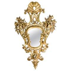 Ornamental Mirror, Gilded Wood, 19th Century
