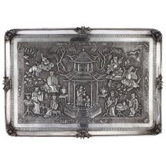 19th Century Chinese Export Solid Silver Wall Plaque, Wang Hing, circa 1870