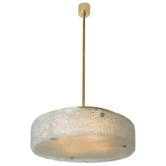 Thick Textured Glass Flush Mount Ceiling Light by Kaiser, 1960s