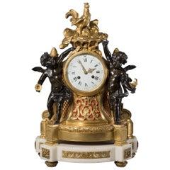 Fine Louis XVI Style Gilt and Patinated Bronze Figural Clock, circa 1870