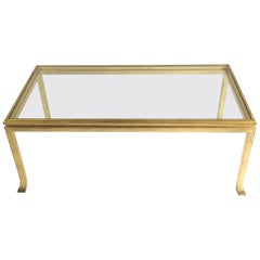 Maison Ramsay French Gilded Coffee Table Designed by Henri Pouenat, 1960s