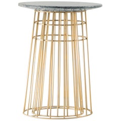 Contemporary Side Table or Tray Table in Granite and Brass