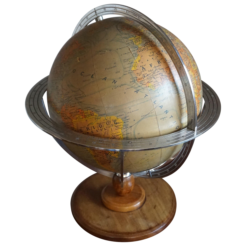 Stylish Mid-20th Century Made, Parisian Terrestrial Desk / Table Globe with Lamp