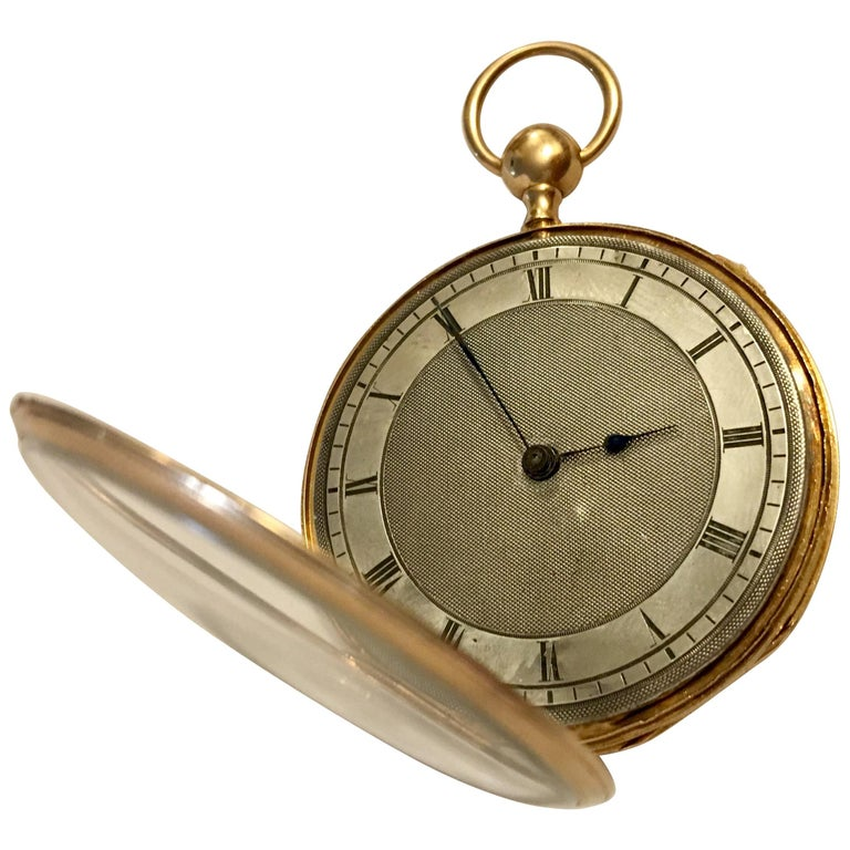 Lightweight Slim 14-Karat Gold Quarter Repeater Pocket Watch For Sale
