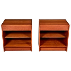 1970s Danish Teak Nightstands, Pair