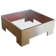 Contemporary Modern Glass Top Metal Coffee Table