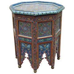 1990s Moroccan Coffee Table Richly Decorated in Arabic Geometric Motifs