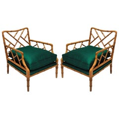 Pair of Faux Bamboo Cockpen Armchairs
