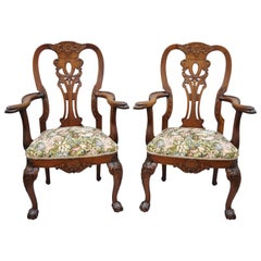 Early 20th Century Mahogany Chippendale Style Armchairs Carved with Eagle Heads