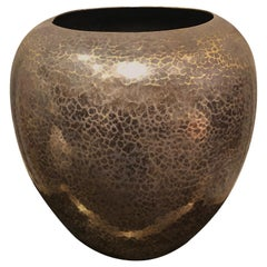 Dinanderie Hammered Silver and Brass Vase / Cachepot by Christofle, France