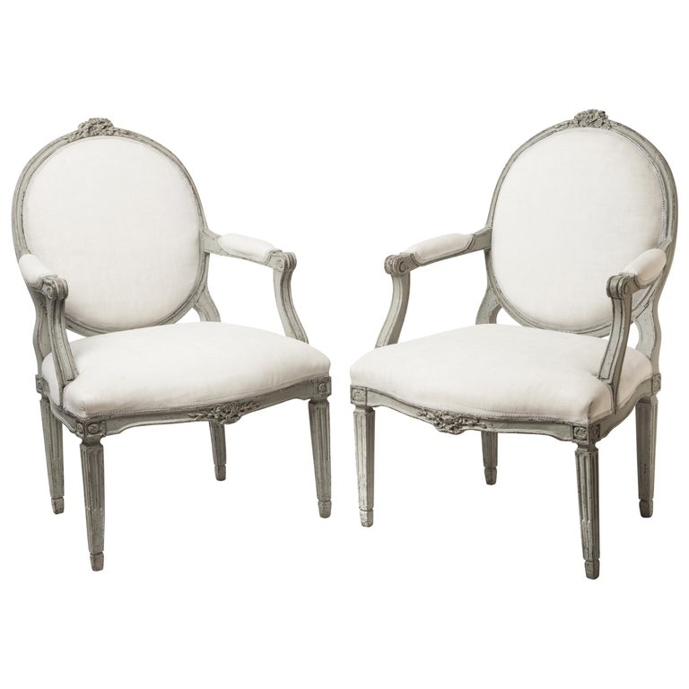 Pair of Antique Swedish Fauteuils 1