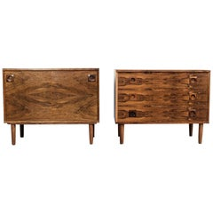 Midcentury Set of Danish Cupboard and Chest of 3 Drawers in Rosewood