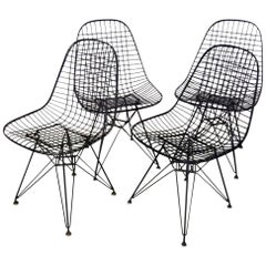 Assembled Set of Four Eames for Herman Miller DKR Wire Chairs on Eiffel Bases