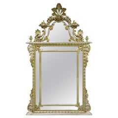 Labarge French Rococo Louis XV Style Silver Giltwood Trumeau Console Mirror