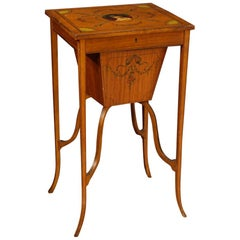 19th Century Inlaid and Painted Wood English Sewing Table, 1880