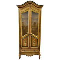 Drexel Heritage French Country Provincial Narrow Curio China Display Cabinet