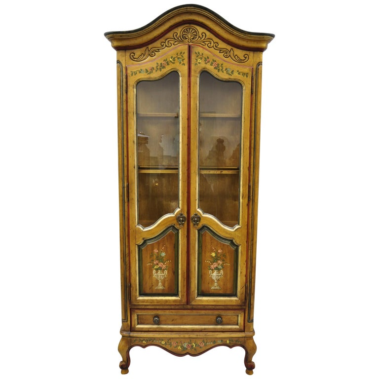 Vaisselier Etroit: Drexel Heritage French Country Provincial Narrow Curio