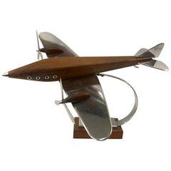 Large Art Deco Desk Model Airplane Aluminium and Teak Wood, France, 1930