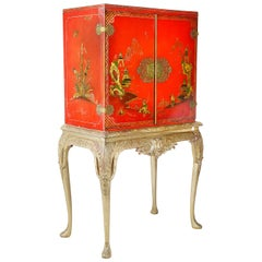Queen Anne Style Lacquer Cabinet on Stand, 1920s