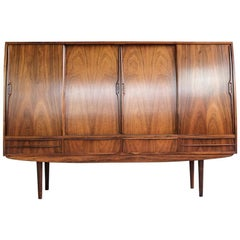 Midcentury Danish Highboard in Rosewood with Bar Closet Inside