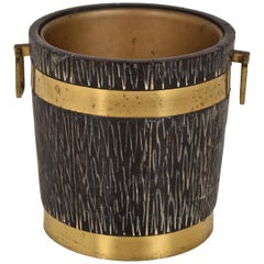 Ice Bucket for Macabo in Carved Wood and Brass, Italy 1950s by Aldo Tura
