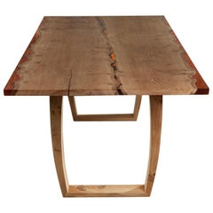 Contemporary English Oak Table with Translucent Amber Resin Live Edges