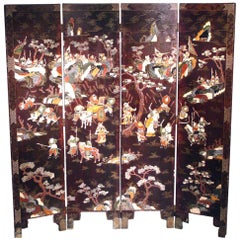 Chinese Antique Folding Lacquer Screen