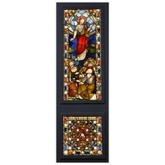 Large Scale Highly Decorative 19th Century and Earlier Stained Glass Triptych