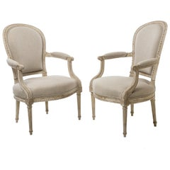 Pair of Delaisement Cabriolet Armchairs in the Style of Louis XVI