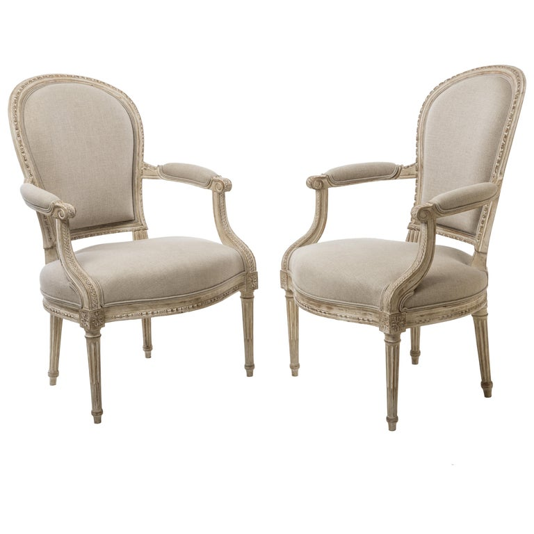 Pair of Delaisement Cabriolet Armchairs in the Style of Louis XVI 1