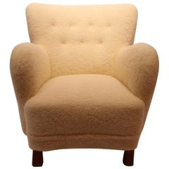 Easy Chair from circa 1930s, Newly Upholstered with Sheep Wool