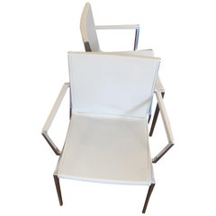 Set of Two Stackable Leather Armchairs with Polished Aluminum Frame