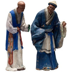 Two Chinese Figures in Sculptured and Painted Clay, 19th Century
