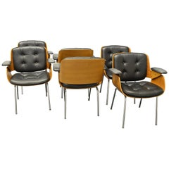 Six D48 Desk Chairs / Conference Chairs, Hans Könecke, Tecta 1960s Black Leather