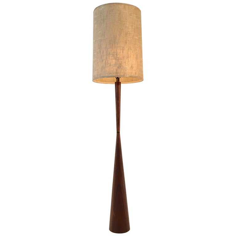 Walnut Hourglass Floor Lamp by Raymond Pfennig for Zina Lamp Co. For Sale